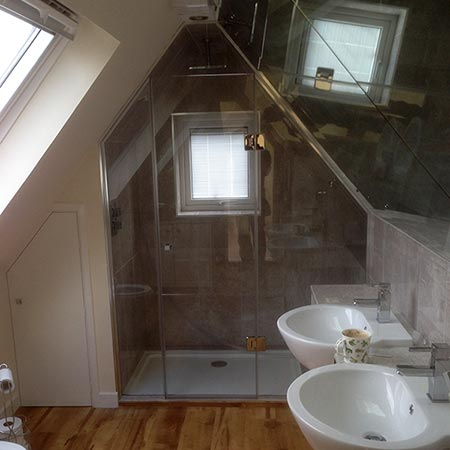 Attic bathroom with Velux windows